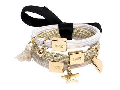 DARK Hairties With Charms Sand/Gold