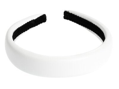 DARK Leather Hairband White